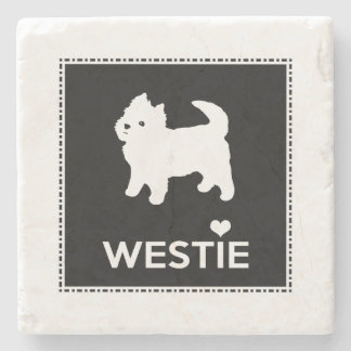 Cute West Highland Terrier - I Love Westies Stone Coaster