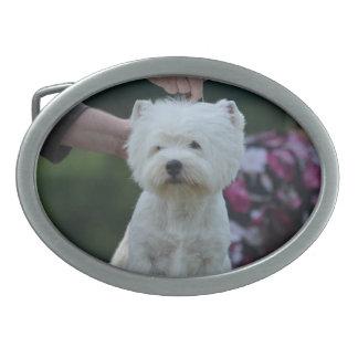 Cute West Highland White Terrier Oval Belt Buckles