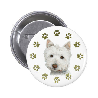 Cute West Highland White Terrier Dog and Paws 2 Inch Round Button