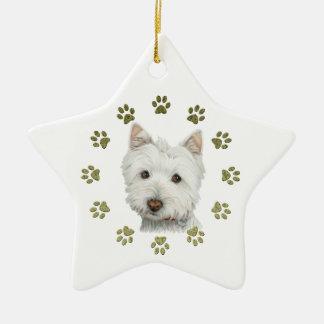 Cute West Highland White Terrier Dog and Paws Ceramic Ornament