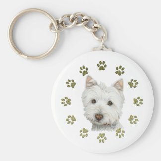 Cute West Highland White Terrier Dog and Paws Basic Round Button Keychain
