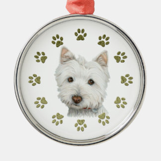 Cute West Highland White Terrier Dog and Paws Metal Ornament