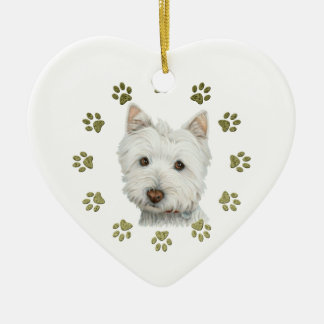 Cute West Highland White Terrier Dog and Paws Ceramic Heart Decoration