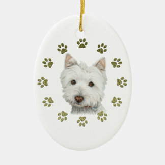 Cute West Highland White Terrier Dog and Paws Ceramic Oval Decoration