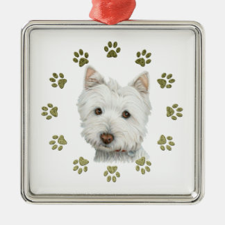 Cute West Highland White Terrier Dog and Paws Silver-Colored Square Decoration