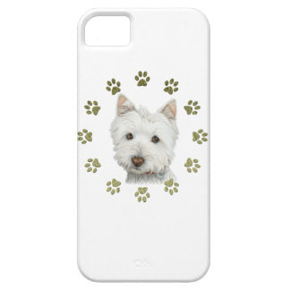 Cute West Highland White Terrier Dog & Paw Prints iPhone SE/5/5s Case