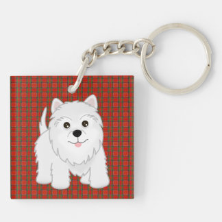 Cute West Highland White Terrier Puppy Dog Double-Sided Square Acrylic Keychain