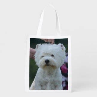 Cute West Highland White Terrier Grocery Bags