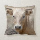 Cute Western Charolais Cow Face Throw Pillow
