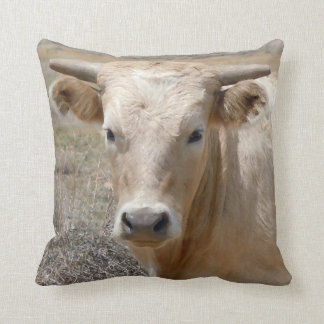 Cute Western Charolais Cow Face Throw Pillow