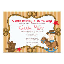 Cute Western Cowboy Baby Shower Invitation