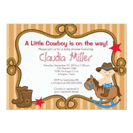 Cute Western Cowboy Baby Shower Invitation Zazzle Com