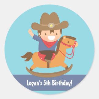 Cute Western Cowboy Kids Birthday Party Classic Round Sticker