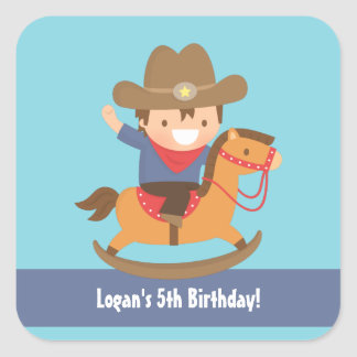 Cute Western Cowboy Kids Birthday Party Square Sticker