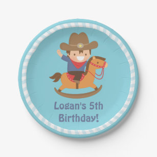 Cute Western Cowboy Kids Birthday Party Supplies Paper Plate  sc 1 st  Zazzle & Kid Cowboy Plates | Zazzle