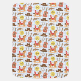 Cute Western Cowboy Pattern For Baby Boys Baby Blanket