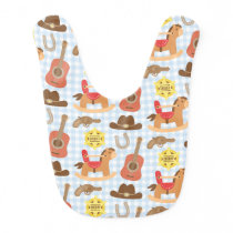 Cute Western Cowboy Pattern For Baby Boys Bib