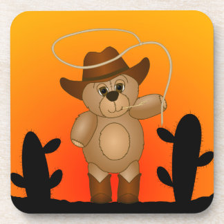 Cute Western Cowboy Teddy Bear Cartoon Mascot Drink Coaster