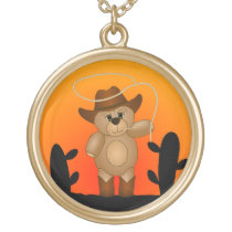Cute Western Cowboy Teddy Bear Cartoon Mascot Gold Plated Necklace