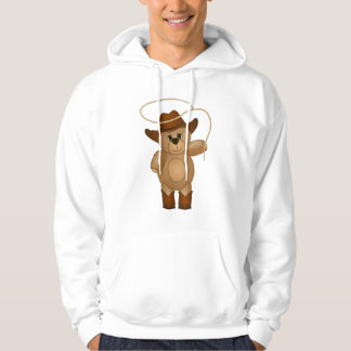 Cute Western Cowboy Teddy Bear Cartoon Mascot Hooded Sweatshirt