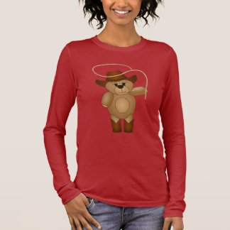 Cute Western Cowboy Teddy Bear Cartoon Mascot Long Sleeve T-Shirt