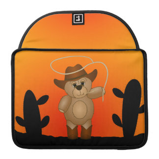 Cute Western Cowboy Teddy Bear Cartoon Mascot MacBook Pro Sleeve