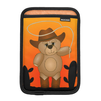 Cute Western Cowboy Teddy Bear Cartoon Mascot Sleeve For iPad Mini