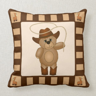 Cute Western Cowboy Teddy Bear Cartoon Pillow