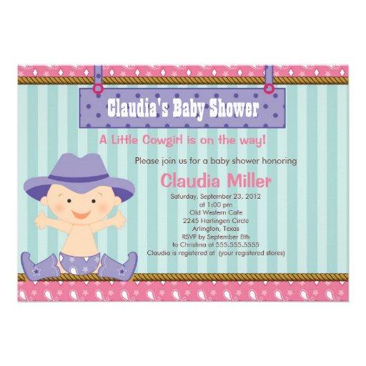 cute western cowgirl baby shower invitation 5 x 7 invitation card
