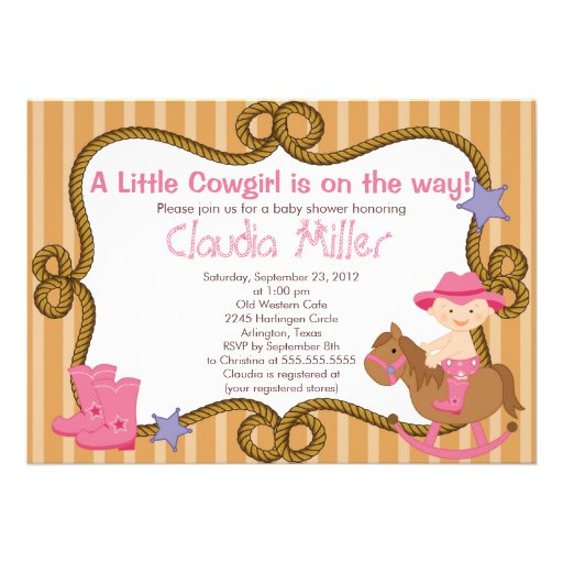 Personalized Western baby girl shower Invitations