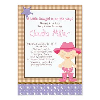 Cute Western Cowgirl Baby Shower Invitation