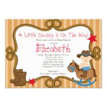 Cute Western Little Cowboy Baby Shower Invitations