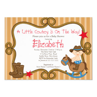 Cute Western Little Cowboy Baby Shower Invitations