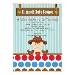 Cowboy baby shower invitations announcements zazzle cute western little cowboy baby shower invitations filmwisefo Image collections