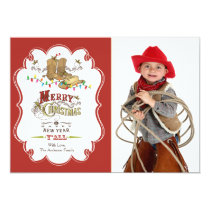Cute Western Merry Christmas Photo Card