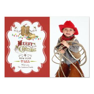 "Cute Western Merry Christmas Photo Card 5"" X 7"" Invitation Card"
