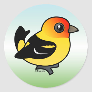 Cute Western Tanager Classic Round Sticker