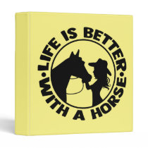 Cute Western Yellow Cowgirl Equestrian Horse 3 Ring Binder