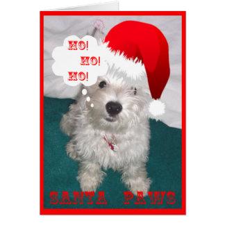 Cute Westie as Santa Paws Card