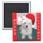 Cute Westie as Santa Paws Fridge Magnets