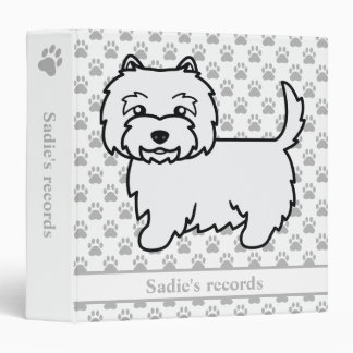 Cute Westie Cartoon Dog With Pet Records Text 3 Ring Binder