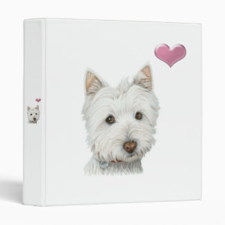 Cute Westie Dog and Heart Avery Binder