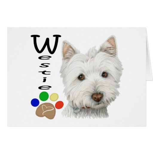 Cute Westie Dog and Paw Art Cards