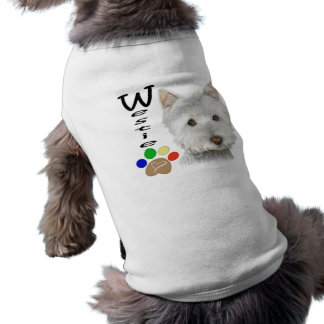 Cute Westie Dog and Paw Art T-Shirt