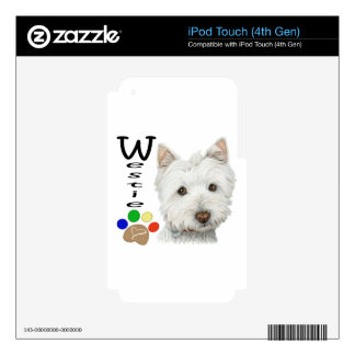 Cute Westie Dog and Paw Print Art Gifts Decals For iPod Touch 4G