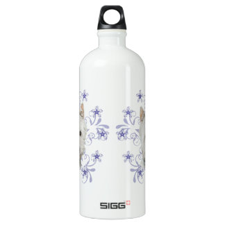 Cute Westie Dog Art and Christmas Snowflake Aluminum Water Bottle