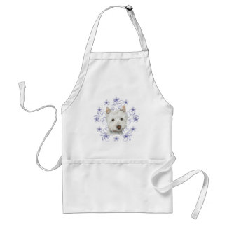 Cute Westie Dog Art and Christmas Snowflake Gifts Aprons