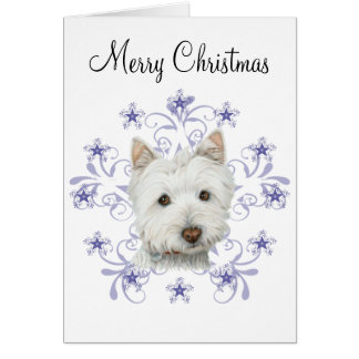 Cute Westie Dog Art and Christmas Snowflake Gifts Card