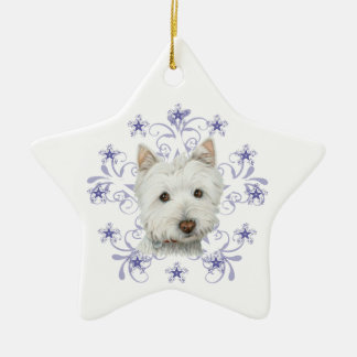 Cute Westie Dog Art and Christmas Snowflake Gifts Ceramic Ornament