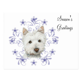 Cute Westie Dog Art and Christmas Snowflake Gifts Postcard